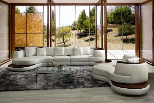 sectional sofa with wooden panel