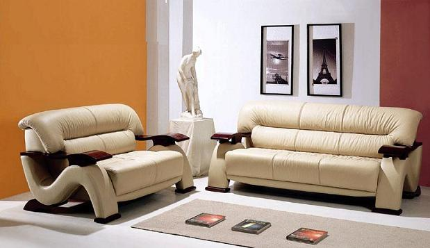 contemporary sofa set with wooden arm