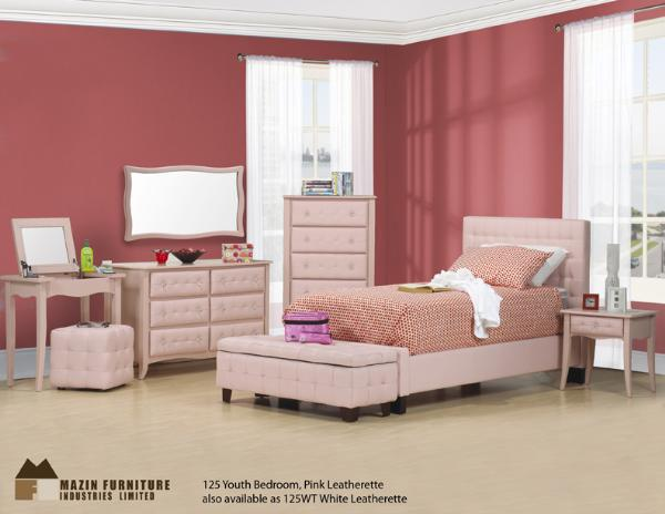 pink kids leather bed
